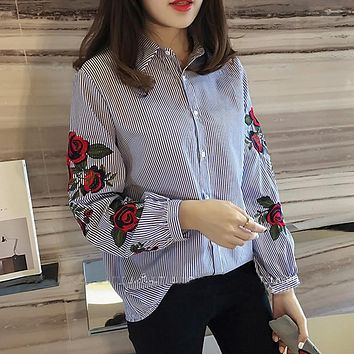 ShowMi Plus Size Women Clothing 4XL 2017 Tops Blouses Korean Spring Summer Thin Ladies White Blue Rose Embroidered Striped Shirt