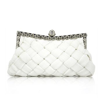 SNNY WHITE satin bridal evening prom clutch handbag purse