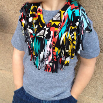 Unisex Kids Toddler Baby Tribal Infinity Fringe Scarf for Mommy Mom Mama and Me- Girl Boy Aztec Knit