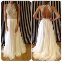 2014 Ivory Prom Dresses Crew Neck Backless Sleeveless Floor Length Chiffon A-line Beading Lace Appliques Party Dresses_2014 Prom Dresses_Prom Dresses_Special Occasion Dresses_Buy High Quality Dresses from Dress Factory - Babyonlinedress.com
