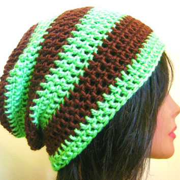 Slouchy Beanie Green Brown Striped Mint Chocolate Womens Slouch Oversize Hipster Hat