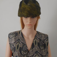 Women's Feather Hat - Green Feather Hat with Velvet Leaves and Mesh - 7 1/2 x 7 x 5 1/2 - Free Shipping
