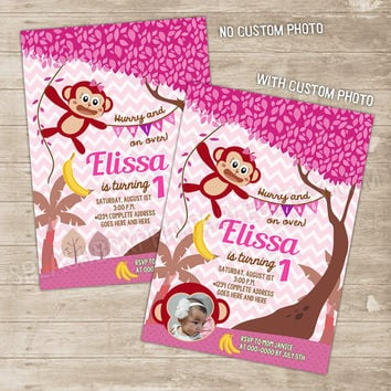 Monkey Invitation Monkey Birthday Invitations Girl Mod Monkey Party pink Invite girls chevron swinging chimp chimpanzee, baby little monkey