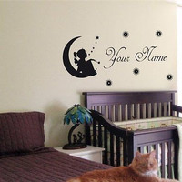 Personalized Name Personal Name Tinker Bell Fairy on the moon  Wall Art Decal St