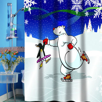 Ice Dancers Holiday Fabric Shower Curtain
