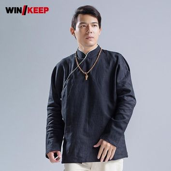 Chinese Kung Fu Autumn Long Sleeve Shirt Men Fitness Kendo Sports Top Cotton Linen Meditation Shirts Loose Martial Arts Tops