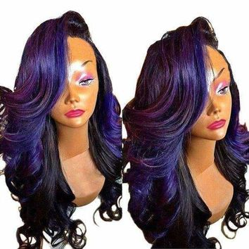Long Deep Side Parting Loose Wave Colormix Synthetic Wig - Black Purple | Fwresh Beauty