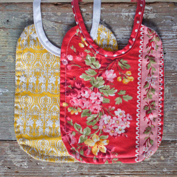 Baby's Bib Set of 2 Handmade for Boy or Girl Mustard Yellow Paisley Red & Pink Floral Small Newborn Bib Set great for baby shower gift ideas