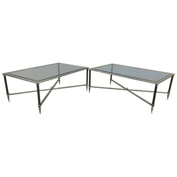 Pre-owned 1950s French Solid Brass Modern Coffee Tables Pair