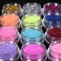 12 Color Nail Art Dust Glitter Powder DIY Decoration Uv Acrylic Gel Tips