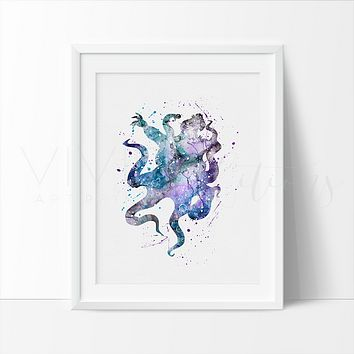 Ursula, Little Mermaid Watercolor Art Print