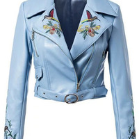 Lapel Flower Embroidery Zipper Crop Jacket