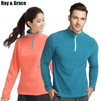 RAY GRACE Outdoor Hiking Fleece Jacket For Men And Women Thermal Fleece Half-Zip Stand Collar Pullover Jacket Winter Autumn