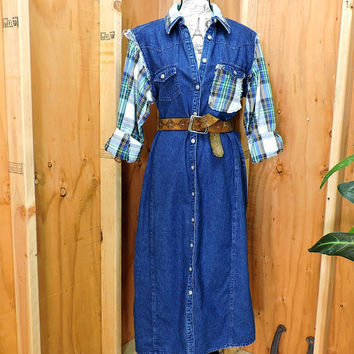 Long denim dress / duster coat / size L / XL / 14 / 16 / long jean dress/ coat / denim / flannel coat / boho grunge