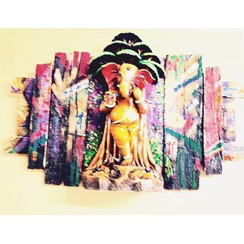 Lord Ganesha Under The Tree Playing Flute Wall Art