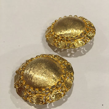 Golden Clip on Earrings Bold Brushed Metal Statement Vintage Costume Jewelry