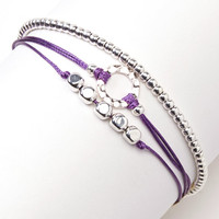 Triple Silver Friendship Bracelet with Adjustable Cord in Purple