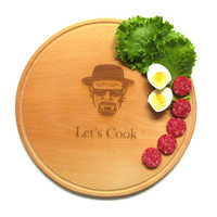 Breaking bad board   Custom Engraved Anniversary Gift Mother's Day Personalized Gift idea Heisenberg  Cutting Board Light Brown Let's Cook