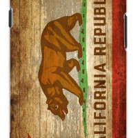 Distressed California State Flag w/Wood Grain Background Image Unique Quality Rubber Soft TPU Case for Samsung Galaxy S3 SIII i9300 (WHITE)