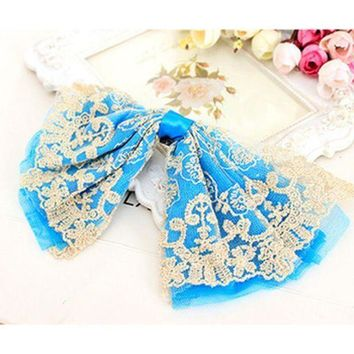 Big Lace Ribbon Bows Embroidered Boutique Headwear Hair Accessories For Women Hair Clips Barrettes For Girls Children Kids