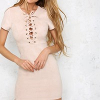 Bound For Greatness Dress Nude