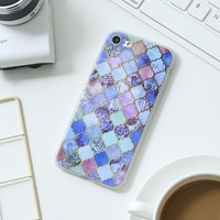 Mosaic Marble Stone Case for iPhone X 8 7 6S Plus &Gift Box