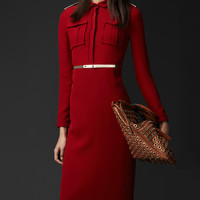 Long Sleeve Pointed Flat Collar Belted Midi Dress