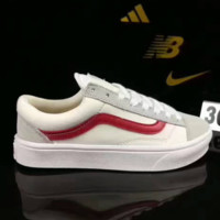 VANS Trending Casual Sports Sneakers Shoes low-tops white red line