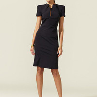 Zac Posen Woven Split Neck Dress