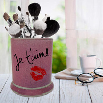 Je t'aime Jar, French I Love You, Glitter Makeup Jar, Brush Holder, Pen Cup, Pencil Jar, Bathroom Storage, Desk Organizer, Toothbrush Holder