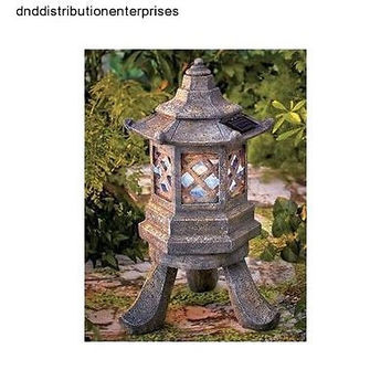 Pagoda Garden Solar Power Light Lantern Yard Lawn Decor Chinese Japanese Decor