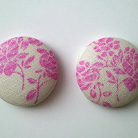 Pink and Off White floral button earrings
