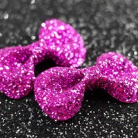 Hot Pink Hair Bow Clips, Glitter, Hair Accessories, Cute Kawaii Bows | Luulla