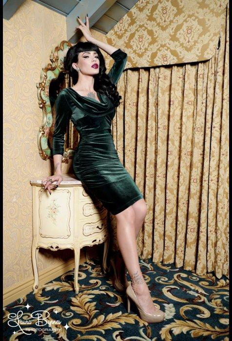 Deadly Dames Film Noir Dress In Emerald From Pinup Girl