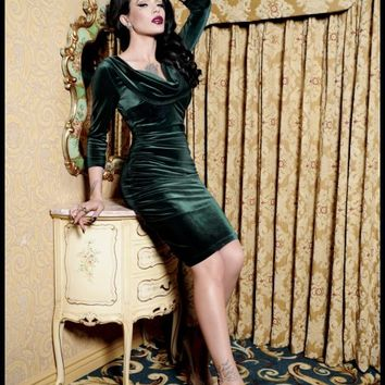Deadly Dames Film Noir Dress in Emerald Green Velvet | Pinup Girl Clothing