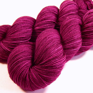 Hand Dyed Yarn - Sock Weight Superwash Merino Wool Yarn - Plumberry Semi-Solid - Knitting Yarn, Sock Yarn, Wool Yarn, Red Violet Berry