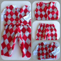 Baby Boy Infant Toddler Fleece Argyle Christmas Suit Sweat Pants Onesuit Set Bow Tie Warm Winter Red Gray White
