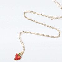 Strawberry Ditsy Pendant Necklace - Urban Outfitters