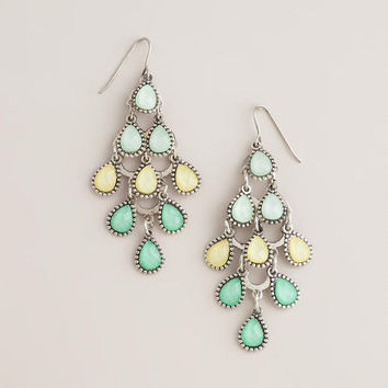Green and Yellow Tiered Chandelier Earrings | World Market