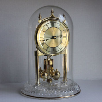 Kundo Anniversary Clock, Gold w/ Glass Dome, Vintage Quartz Mantle Table Clock, Spinning Rotating Pendulum, Battery Operated, West Germany