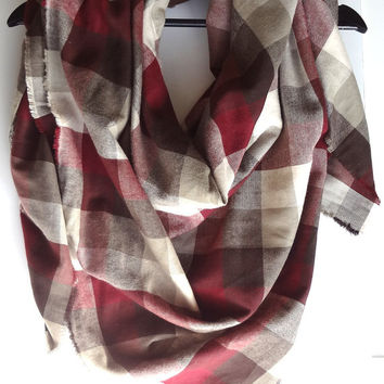 Red Plaid Blanket Scarf, Gift For Her, Burgundy Blanket Scarves, Winter Scarf, Cotton Scarf