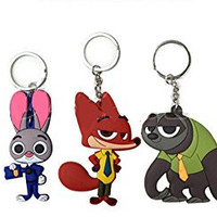 "2"" 5pcs Zootopia Figures Toys Charms Keychain Dangle Officer Judy Hopps Nick Wilde"
