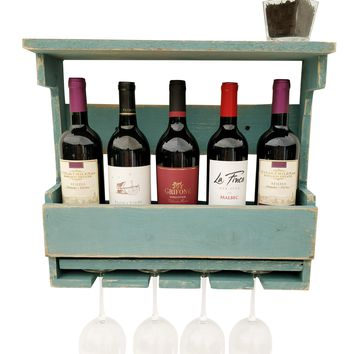Reclaimed Wood Wine Rack - Beach House