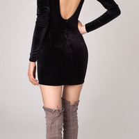 VELVET BACKLESS LEOTARD