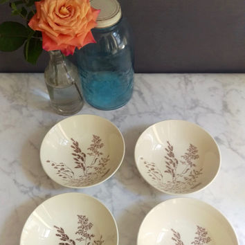 J and G Meakin Bowls/ Windswept dishes/ Vintage dishes/ Cream and Brown Ceramic Bowls/ English Country/ Set of Four Bowls/ Antique Dishes