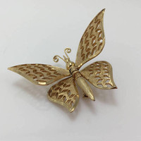 Butterfly Pin/Brooch, Gold tone Figural, Movable Wings, Vintage Jewelry