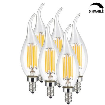 6 Pack AC110-220V LED Dimmable Filament Bulb 2700K Warm White E14 E12 Candle Light 6W Equal to 60W Edison Bulb