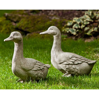 Cast Stone Duck Garden Statue in Natural Color Stone - Made in USA