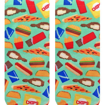 Pixelated Munchies Green Ankle Socks
