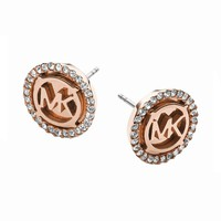 Michael Kors Rose Gold-Tone Logo Disc Earrings